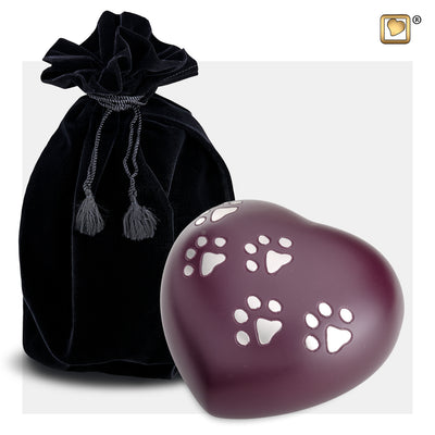 P641L  Large Heart Pet Urn Cranberry & Bru Pewter