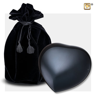 P643L  No Paws Large Heart Pet Urn Midnight