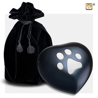 P679M  Medium Heart Pet Urn Midnight & Bru Pewter