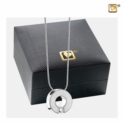PD1040 PENDANT Omega™ Rhodium Plated Two Tone with Clear Crystal