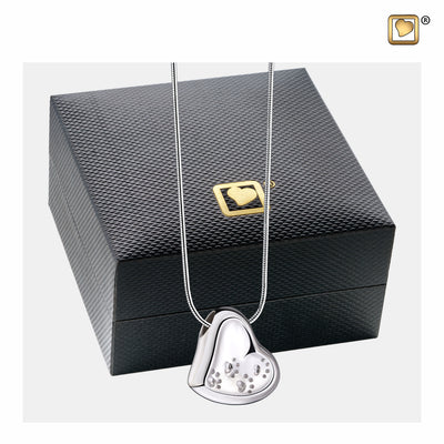 PD1170 PENDANT Leaning Heart with Paw Prints™ Rhodium Plated Two Tone