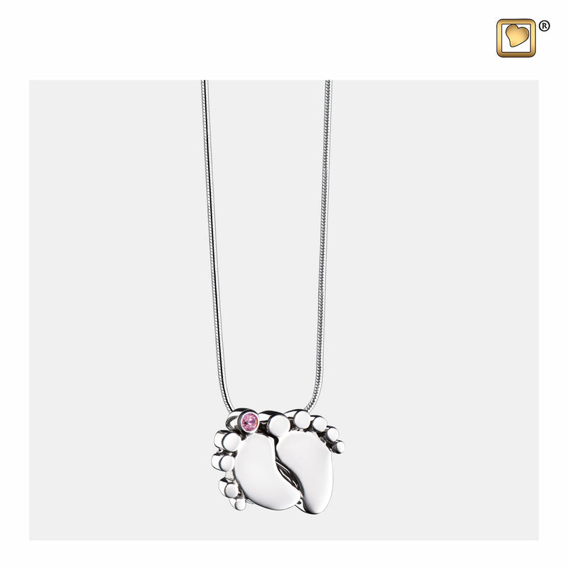 PD1180 PENDANT Baby Feet™ Rhodium Plated with Pink Crystal