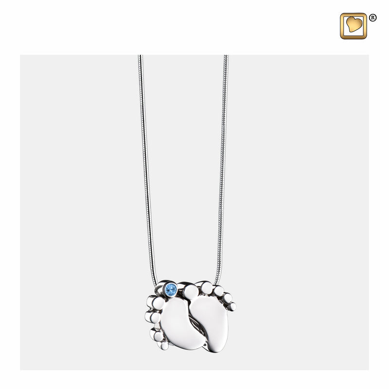 PD1181 PENDANT Baby Feet™ Rhodium Plated with Blue Crystal