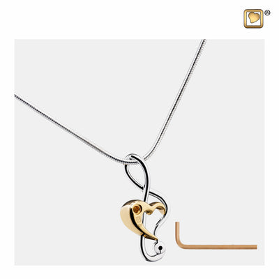 PD1250 PENDANTTreble Clef Heart™ Rhodium Plated Gold Vermeil Two Tone