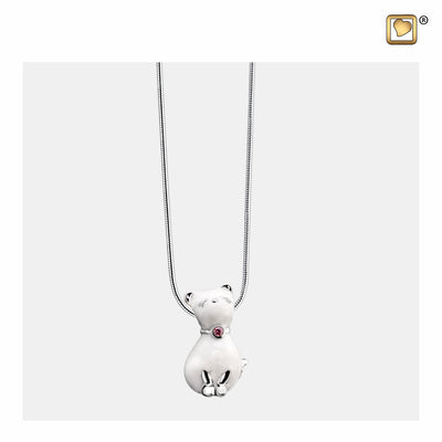 PD1260 PENDANT Princess Cat™ Pearl Enamel Rhodium Plated with Pink Swarovski® Crystal