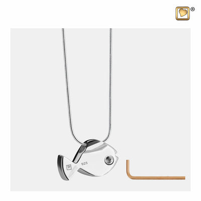 PD1330 PENDANT Fish™ Rhodium Plated Two Tone with Clear Crystal