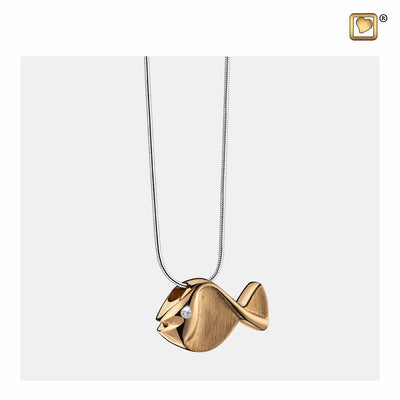 PD1331 PENDANT Fish™ Gold Vermeil Two Tone with Clear Crystal