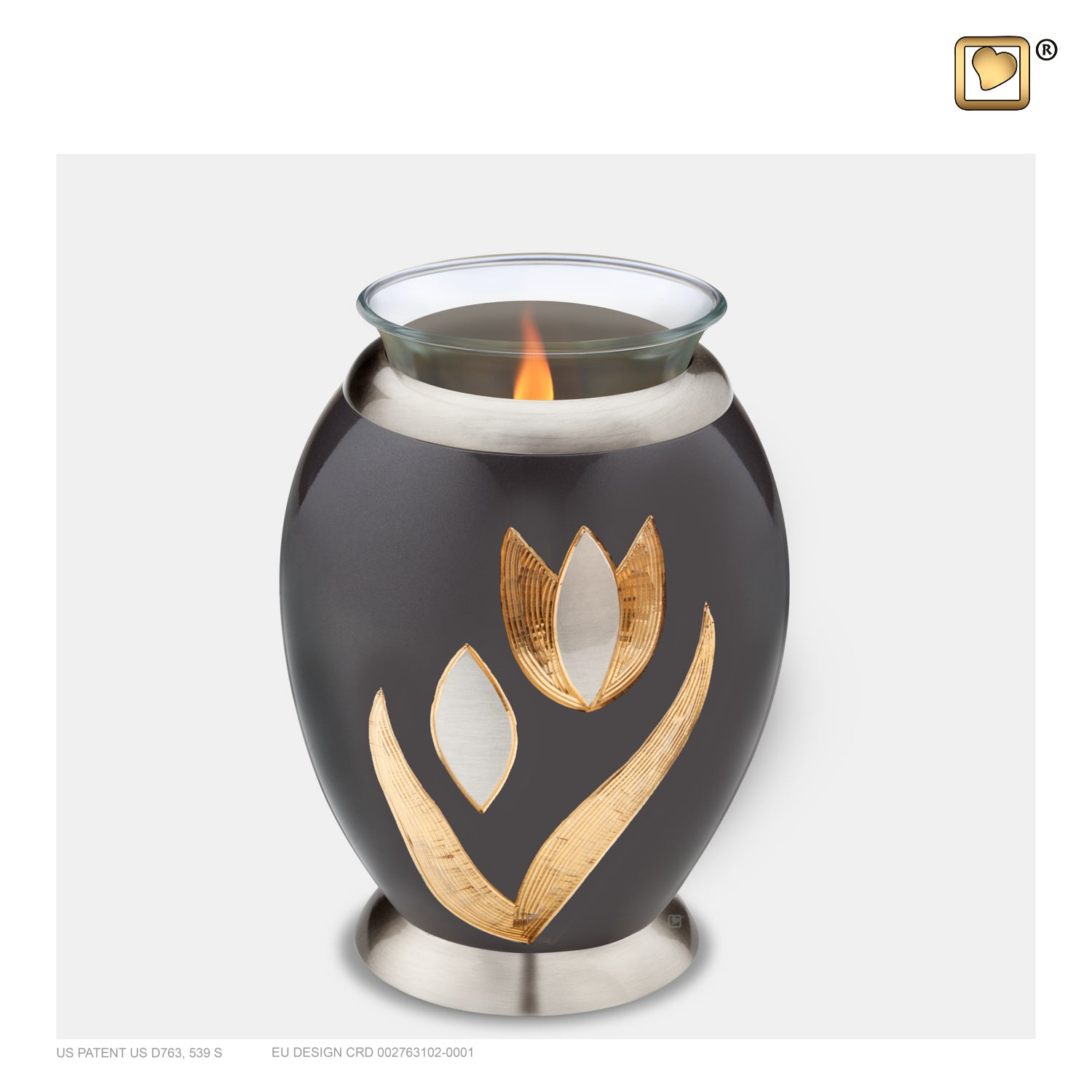 T502  Majestic™ Tulip Tealight Urn Midnight & Bru Pewter