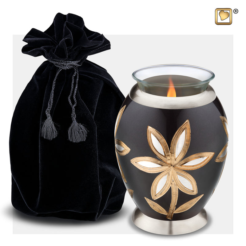 T503  Majestic™ Lillies Tealight Urn Midnight & Bru Pewter