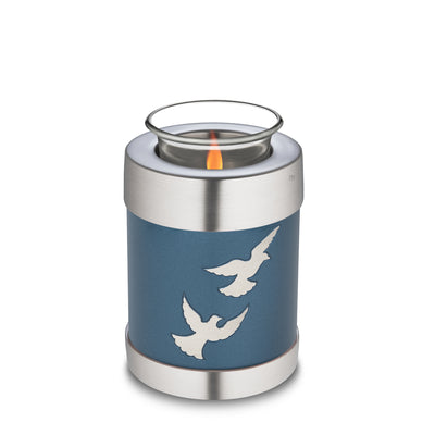 T572  Divine™ Flying Doves Tealight Urn Blue & Bru Pewter