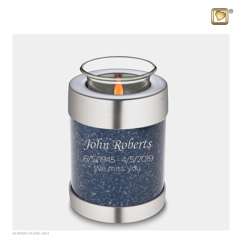 T663  Tealight Urn Speckled Indigo & Bru Pewter
