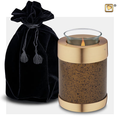 T664  Tealight Urn Speckled Auburn & Bru Gold