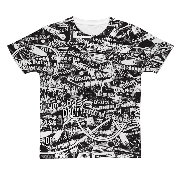 """DRUM & BASS"" Collage All-Over Print T-Shirt"