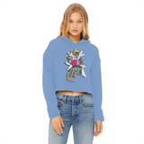 """ROBOT LOVER"" (Colour) Ladies Cropped Raw Edge Hoodie"