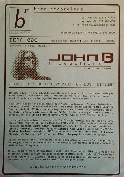 BETA008 - John B - The Gate b/w Music For Lost Cities (Signed Promo) [2001]