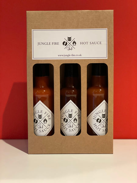 CHRISTMAS SPECIAL 3x BOTTLE HOT SAUCE GIFT SET (Bad Santa, Tropical Fire, D&BBQ Fire)