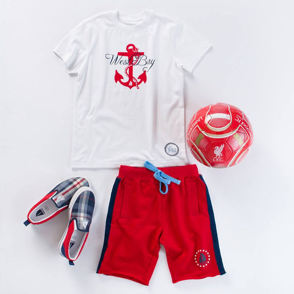 ANCHOR PRINT TEE AND RED SPORTY SHORTS WITH FEN SLIP ON SHOES