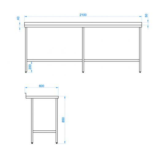 Classic Stainless Steel Catering Prep Table - 2100 x 600mm