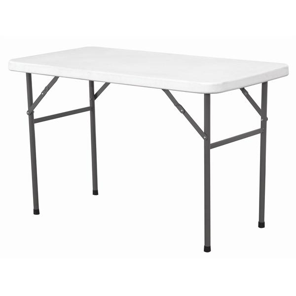 Solid Top Folding Table 4' White HDPE - Gecko Catering Equipment