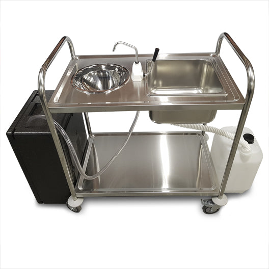 Classic Portable Hand Wash Trolley - Double Bowl