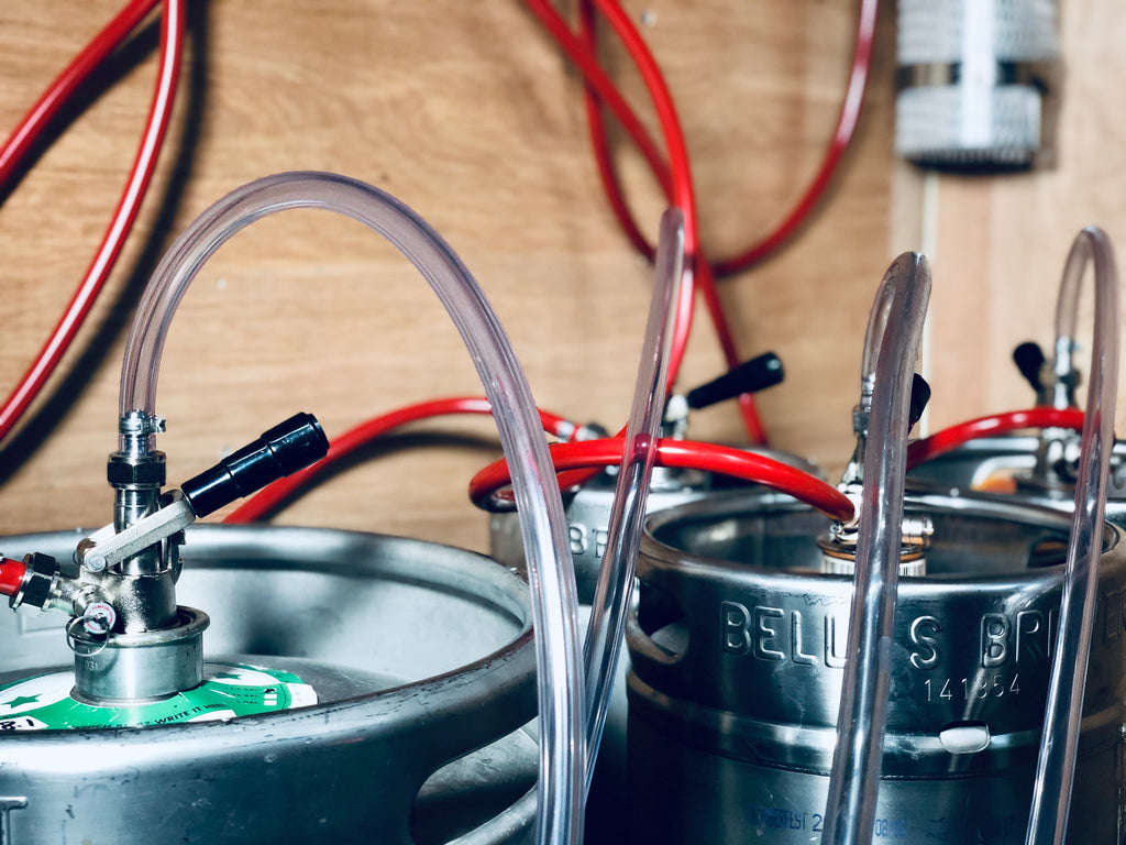 keg jumpers attached to kegs