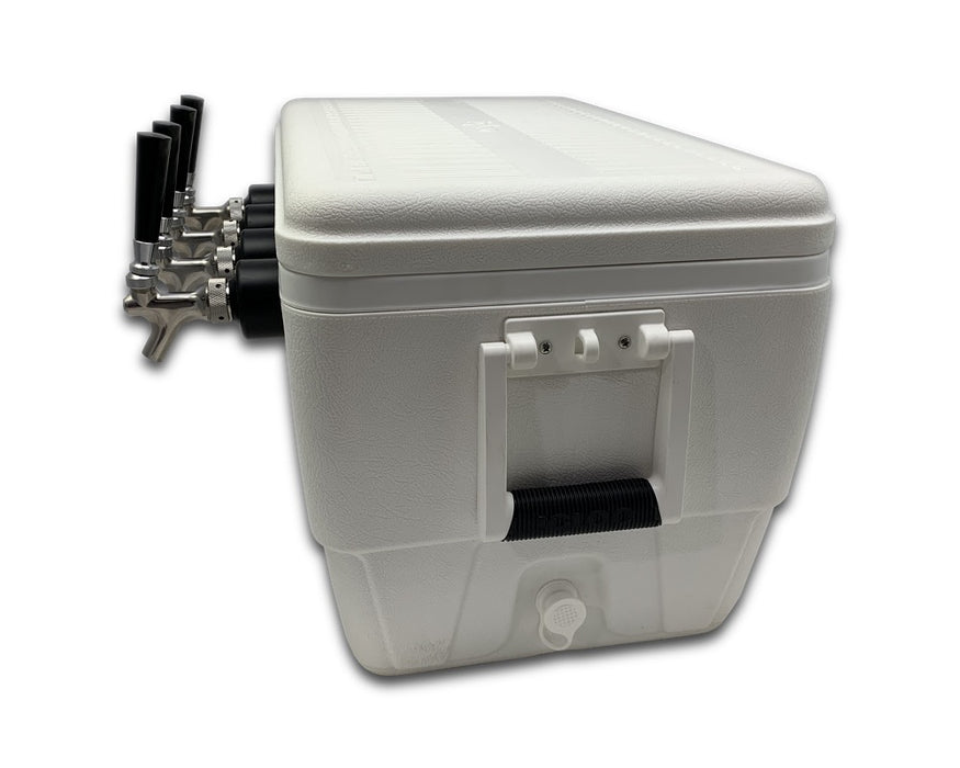 side angle of 4 tap jockey box