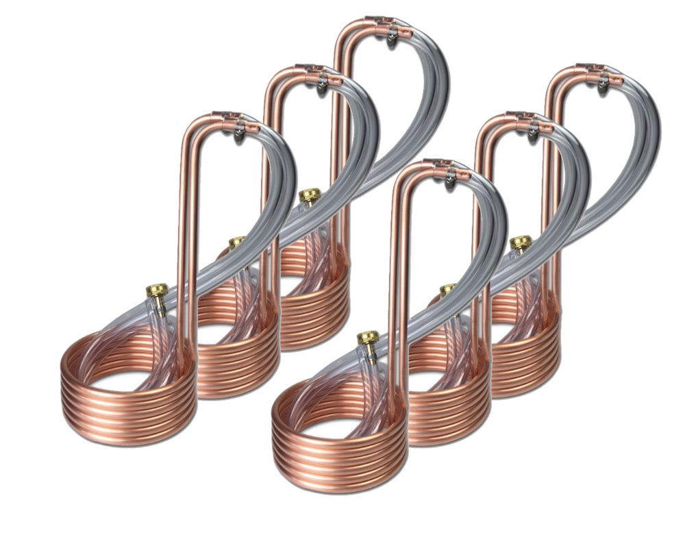 "6 PACK - 12.5' Compact Copper Immersion Wort Chiller (3/8""OD)"