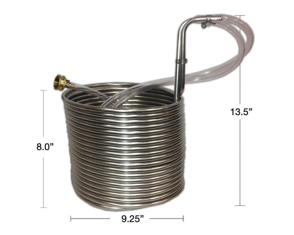 "50' Jumbo Stainless Steel Immersion Wort Chiller (3/8""OD)"