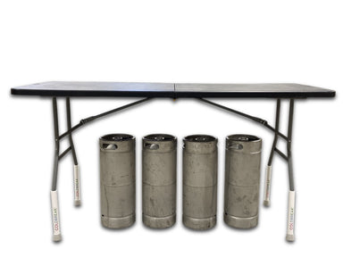 folding table with leg extensions and kegs underneath