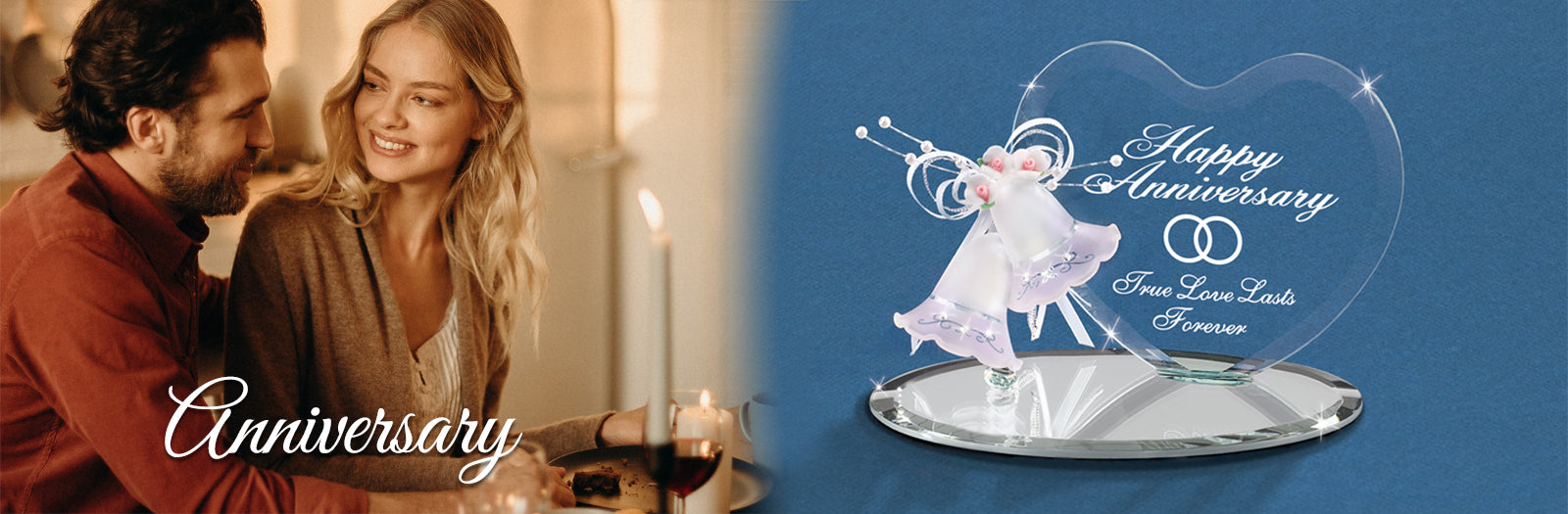 Shop handcrafted glass art Anniversary Figurines to celebrate the years.