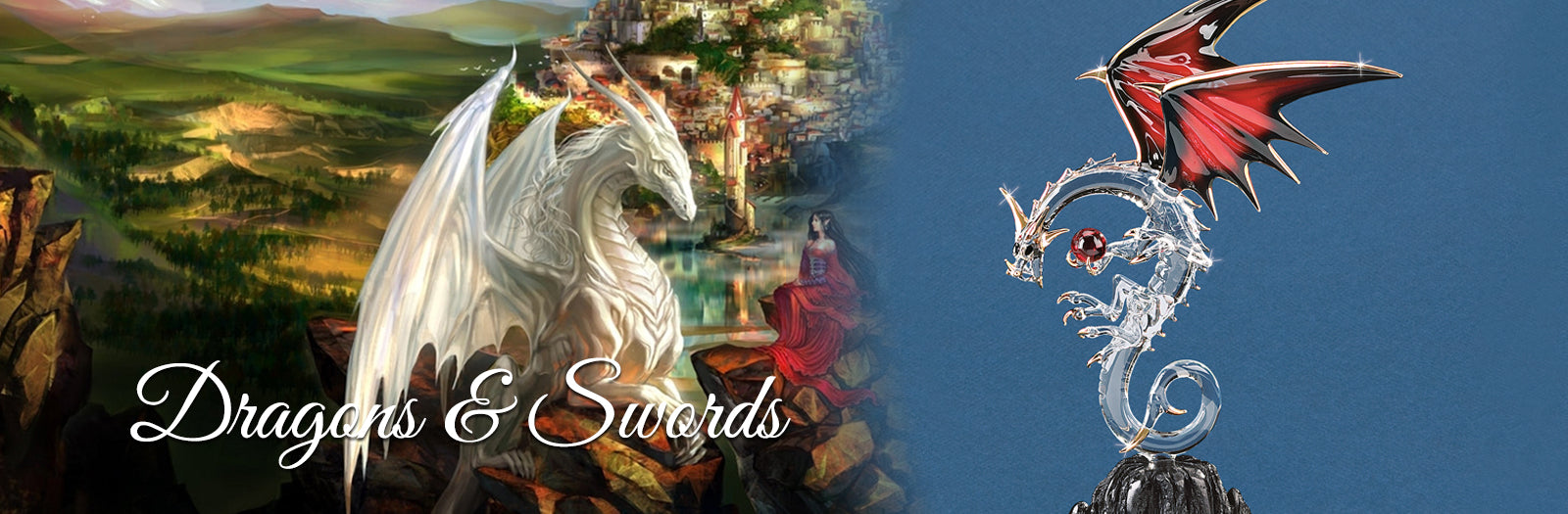 Shop mystical legends with this collection of handcrafted glass art dragons and swords.