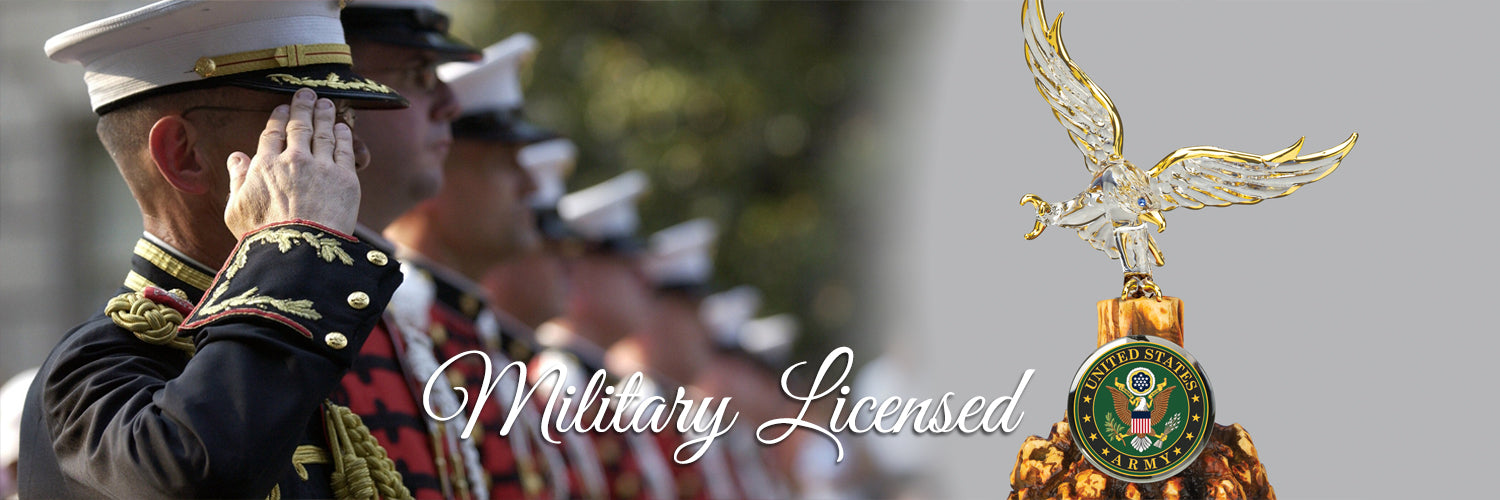 Shop the officially licensed Military handcrafted glass art for Army, Navy, or Air Force