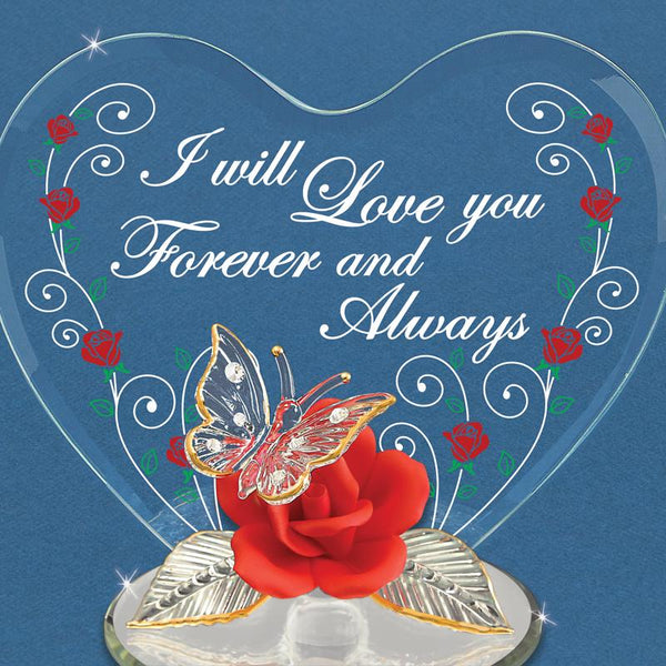 """I Love You Always"" Butterfly and Red Rose"