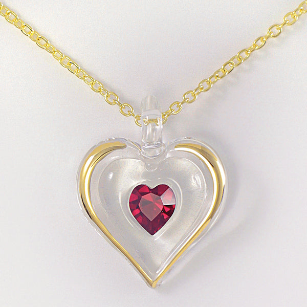 January Birthstone Heart Necklace