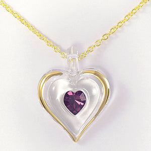 February Birthstone Heart Necklace