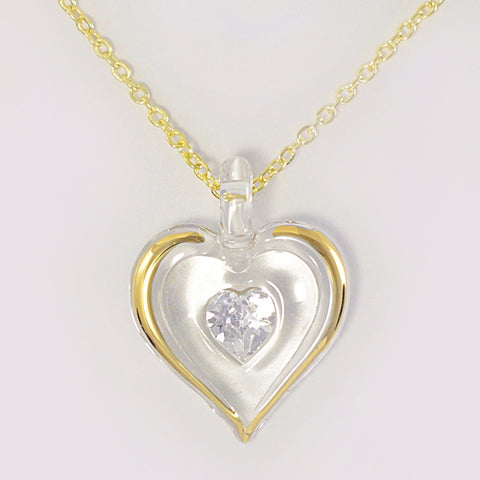 April Birthstone Heart Necklace