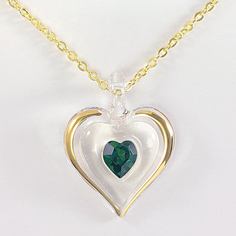 May Birthstone Heart Necklace