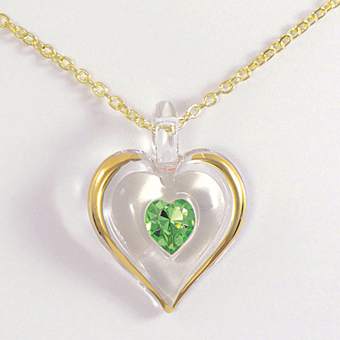 August Birthstone Heart Necklace