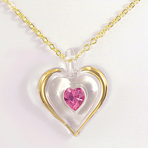 October Birthstone Heart Necklace