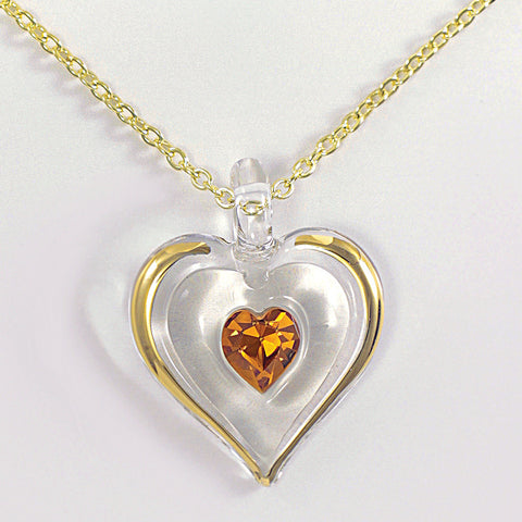 November Birthstone Heart Necklace