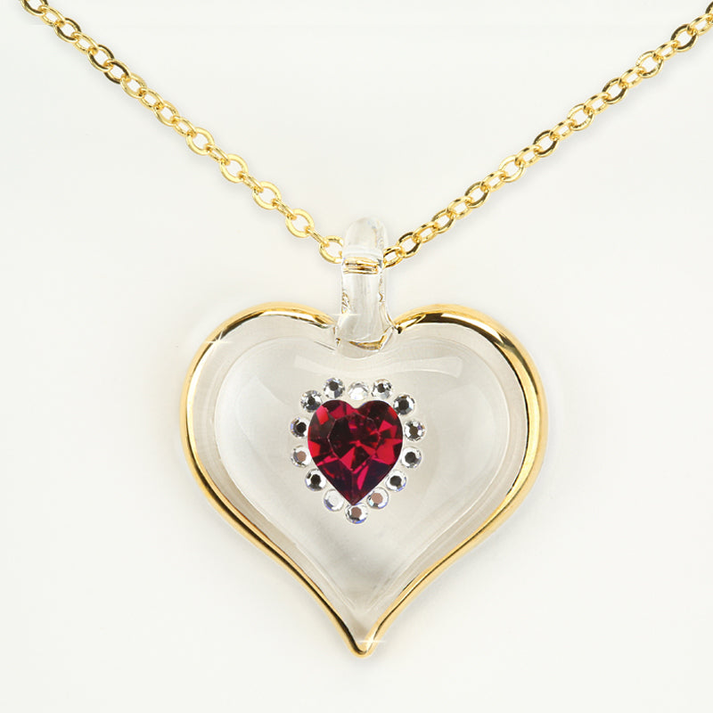 January Birthstone Sparkle Heart Necklace