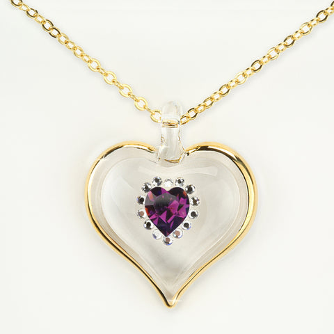 February Birthstone Sparkle Heart Necklace