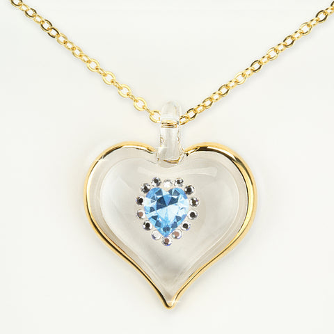 March Birthstone Sparkle Heart Necklace