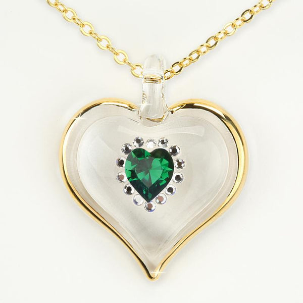 May Birthstone Sparkle Heart Necklace