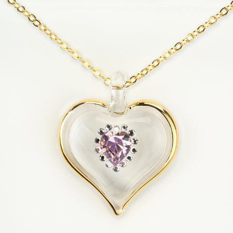 June Birthstone Sparkle Heart Necklace