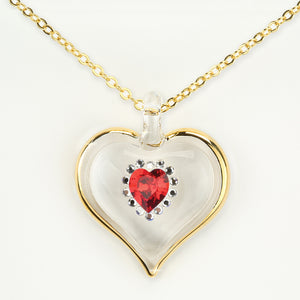 July Birthstone Sparkle Heart Necklace
