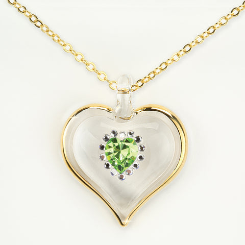 August Birthstone Sparkle Heart Necklace