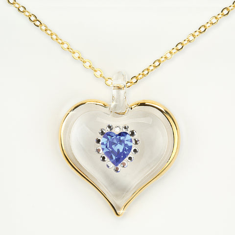 September Birthstone Sparkle Heart Necklace