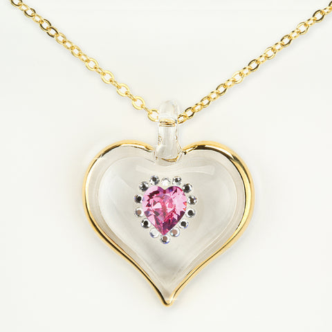 October Birthstone Sparkle Heart Necklace