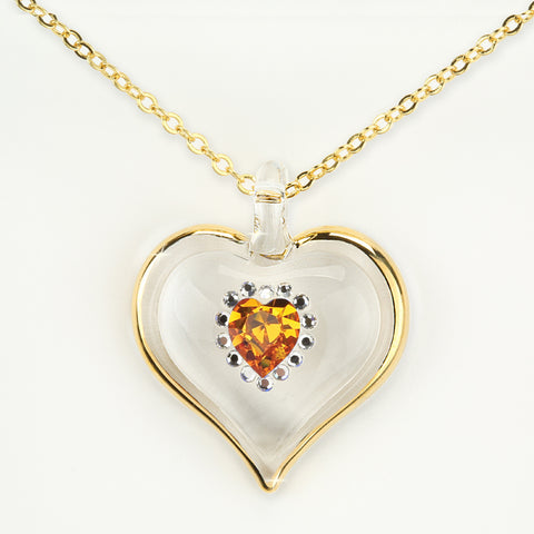 November Birthstone Sparkle Heart Necklace